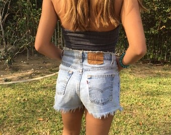 Levi's, cut off shorts, denim shorts, size 8, Jean shorts,  frayed and worn, soft