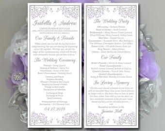 "Wedding Program Template Tea Length Program - Wedding Program Timeline - DIY Ceremony Program DIY Wedding Program Download ""Isabella"" Lilac"