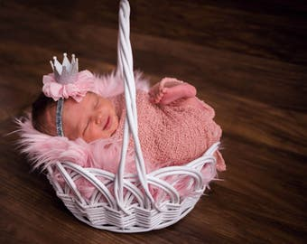 Pink Headband, Princess headband, Silver Headband, Crown Headband, Newborn Crown headband, 1st Birthday Crown, baby crown Headband,