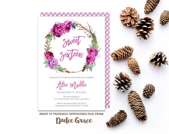 Sweet Sixteen party, Sweet 16 invites, Sweet 16 prints, sweet sixteen invitations, coming of age, lilac invites, quinceañera, printed or DIY