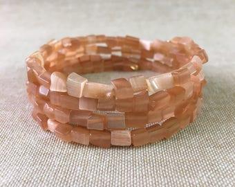 Peach Cat's Eye Glass Beaded Chips Memory Wire Bracelet