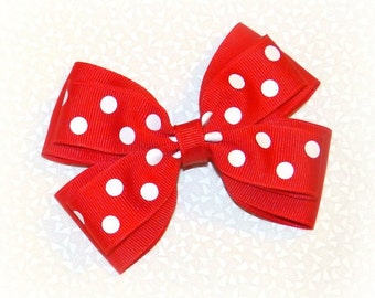 Red Layered Bow ~ Red Hair Bow ~ Red Hair Clip ~ Red Polka Dot Bow ~ Red Christmas Bow ~ Large Red Bow ~ Red Headband Bow ~ Christmas Bow