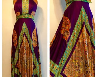 Vintage 70s Psychedlic Maxi Gown
