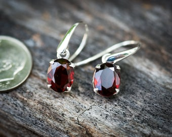 Garnet Dangle Earrings - Garnet and Sterling Silver dangle earrings - Almandine  Garnet Earrings -  Red Garnet Earrings - Almandine oval