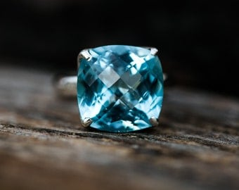 Blue Topaz Ring 7 - Swiss Blue Topaz Ring 7 -Swiss Blue Topaz Jewelry - December Birthstone - Swiss Blue Topaz Ring - Baby Swiss Ring 7