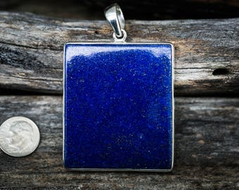 Lapis Pendant set in Sterling Silver - Gorgeous Lapis Lazuli Pendant - Lapis Jewelry - Sterling Silver Lapis Necklace - Lapis Lazuli Jewelry