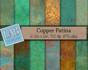Copper Digital Paper - Rusted Metal Patina - Digital Paper - Instant Download Rustic Green Seamless Printable Background for Personal Use