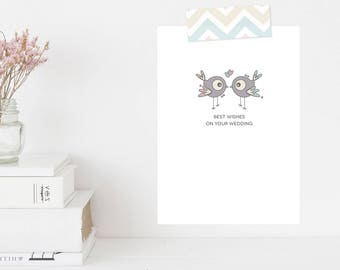 Greeting Card | Winky Wonky Birdies Collection | Best Wishes On Your Wedding