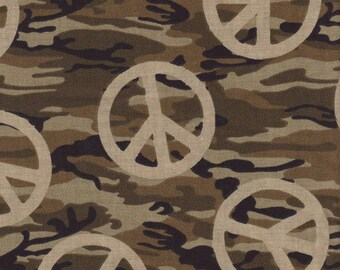 Fabric Traditions - Olive Camouflage with Tonal Olive Peace Signs – Cotton Fabric
