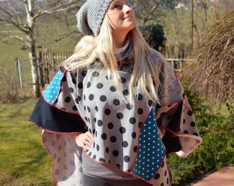 Poncho Cape patchwork Cap stole remade patchwork