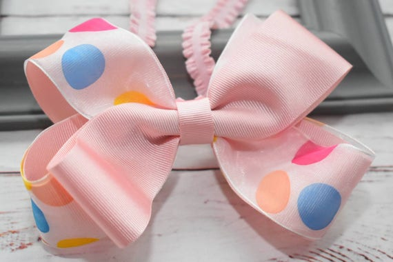 Pink Polka Dot Bow - Baby / Toddler / Girls / Kids Headband / Hairband / Hair bow / Barrette / Hairclip