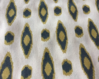 """Eames Mid Century Modern Abstract 46"""" by 3 yards Charcoal Gray, Dijon Yellow, Ecru Home Decor"""