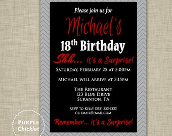 18th Surprise Birthday Party Invitation ANY age Gray Black Red Masculine invite Mans Party Invitation Adult Printable Invite JPEG file 353