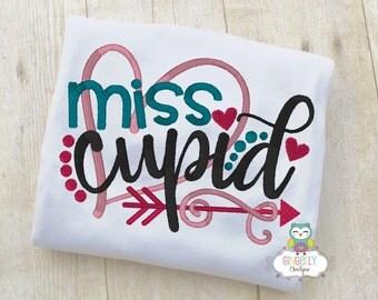 Miss Cupid Shirt or Bodysuit, Girl Valentine Shirt, Valentines Day Shirt, Valentines Day Outfit, Girls Heart Shirt