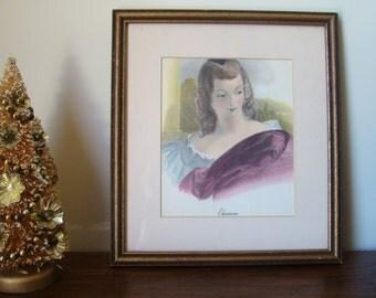 Antique portrait, Antique art print, Victorian Art, vintage engraving print, hand colored engraving, vintage art print, Eleanore