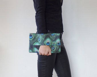Peacock feather clutch, peacock bag, christmas gift, wrist wallet, handbag, pouch bag, green, blue, aqua fabric bag, hand strap