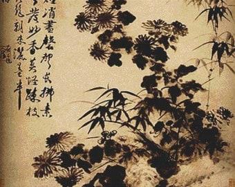 Chrysanthemums And Bamboo PDF Cross Stitch Pattern