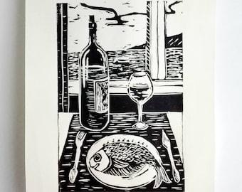 FREE SHIPPING Worldwide, Original Linocut Handmade Print, Limited edition, wine, fish, block print, gift, gift idea, relief art print