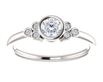 25% OFF Forever One Moissanite Diamond 14K Gold Ring, Petite, Slim Band