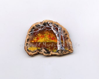 AGATE - HAND PAINTED; autumn scene, deep amber stone, miniature art, birch trees, lake, shoreline, nature, shelf art,