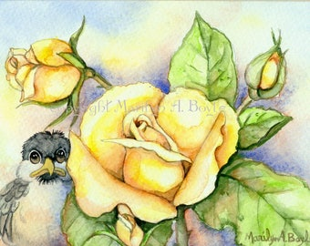 ACEO BABY CHICKADEE; Limited Edition run of only 15, art trading card, 2.5 x 2.5 inches, yellow roses, garden, nature, feathers, wings,