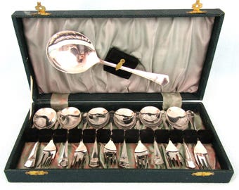 Boxed Set of Dessert Cutlery, Six Spoons and Six Forks and Server, Silver Plated Cutlery, Vintage Sheffield, Forks and Spoons, Art Deco Set