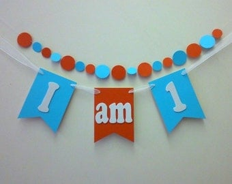 I AM 1 - Dr. SUESS themed High chair banner , First birthday banner, Cake smash Photo prop