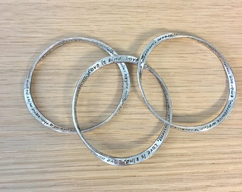 Sterling silver love messages Bangles - set of 3