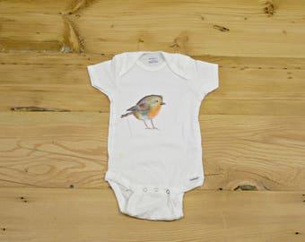 Water color Bird- Baby bird Onesie- Bird Onesie- Baby Clothing