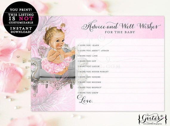 Advice well wishes for baby girl, pink silver shower vintage girl games, advice card for baby, Instant Download Light/Blonde  5x7 2/Sheet