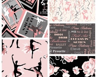 Girls City Ballet Pink/Black Fabric Bundle  (5) - Quilting Cotton Fabric/Precuts
