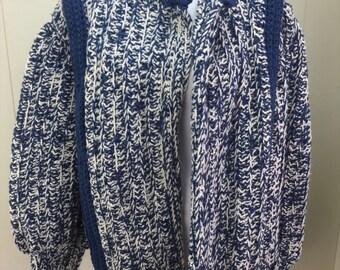 Vintage Sweater Coat Oversized Cardigan Jacket Chunky Yarn Handmade Blue White L