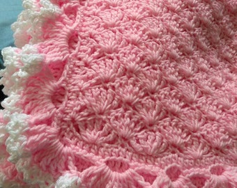Triple ruffled edge baby blanket pink and white