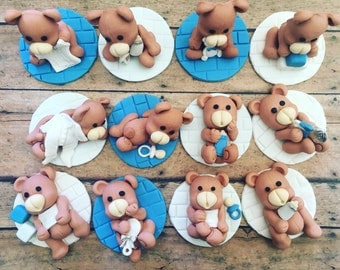 12 Fondant edible bears cupcake toppers/ baby shower toppers