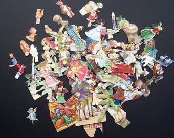 Vintage Christmas Paper Cut Outs Diorama Nativity Decoupage Collage Lot