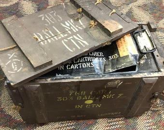 1967 British 303 Mk7 wooden ammo crate