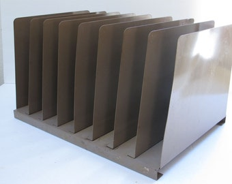 Metal file rack Industrial file holder Retro home office decor Office Filing Industrial Metal Shelf Metal Filing Unit Buff Brown Steel Desk