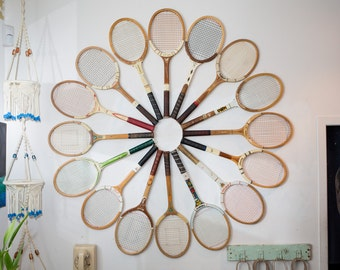 Set of 16 Vintage Wood Tennis Racquets for Wall Display / Mid Century Modern Contemoprary Upcycled Repurposed Wall Decor Art Piece