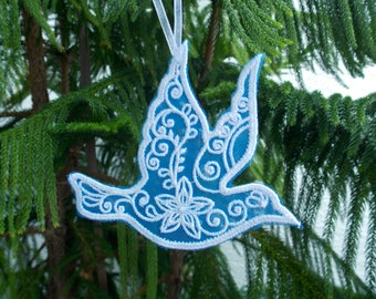 FSL Christmas Dove Ornament ~ Christmas ~ Holiday ~ Wreath ~ Gift Machine Embroidered on Blue Organza