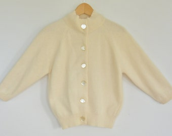 Vintage French Angora Lambswool Cardigan Angelon by darlene 1960's 3/4 Sleeve Cream Color Size Small
