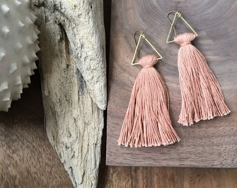 Copper Sky / Triangle Tassel Earrings / Peach Earrings / Triangle Earrings / Gold Tassel / Bohemia / Simple Tassel / Cotton Tassel Earrings