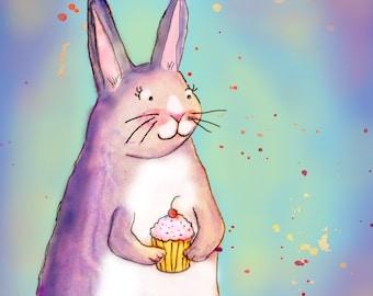 Bunny Cupcake Art Print