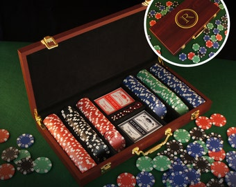 Personalized Poker Gift Set with Cards, Chips, & Dice including Engraved Case with Monogram Design Options (Each)
