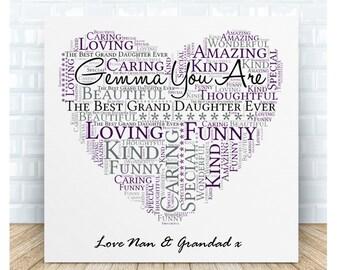 Personalised Grand Daughter Word Art Ceramic Plaque.