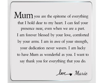 Mum Poem Personalised Glass Plaque