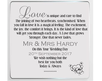 Your Wedding Day Personalised Glass Plaque