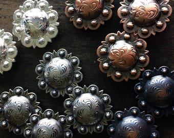"1 1/4"" Screwback Conchos - Bright Silver, Antique Copper, Bronze, Antique Silver"