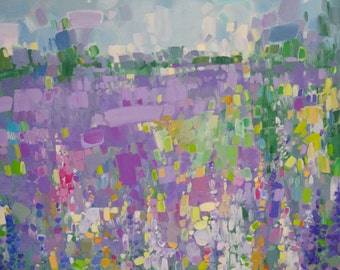 Lavenders, Abstract Original Painting on Canvas, One of a Kind, Signed Painting with Certificate of Authenticity