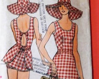 Wonderful vintage swimsuit and sunhat pattern Vogue 9230 Uncut Size 10