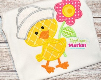 Personalized Easter Chick with Flowers Applique Shirt or Onesie Girl or Boy